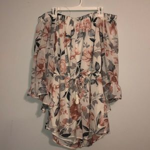 women's long sleeve floral off shoulder romper